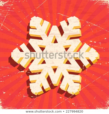 Scratched vintage card with 3D christmas snowflake Stock photo © SwillSkill