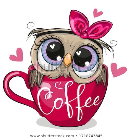 Koffie uil grappig koffiebonen twee Stockfoto © Fisher