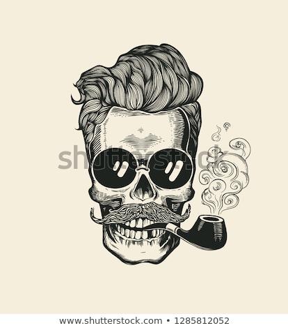 illustration of bearded sailor smoking pipe. Stock photo © curiosity