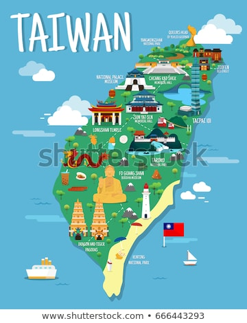 Taiwan map with cultural symbols. Stock photo © curiosity