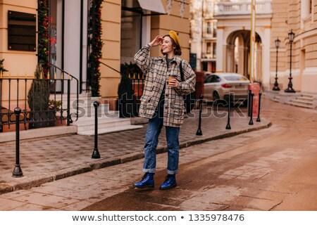 Encantador moda feminino casaco elegante modelo Foto stock © tekso