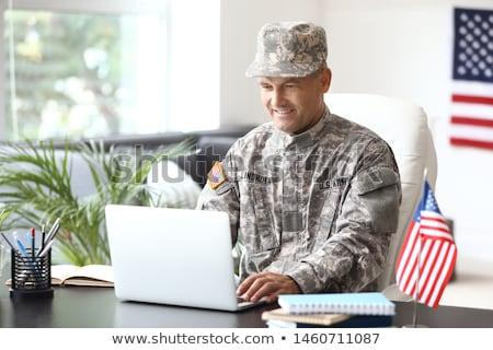 Militar trabalhar escritório soldado guerra guerreiro Foto stock © MaryValery