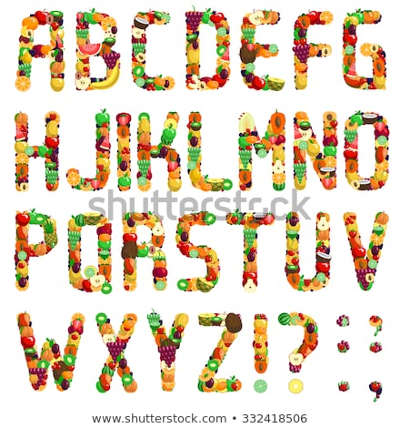 Number 2 Strawberry font. Red Berry lettering two alphabet. Frui Stock photo © popaukropa