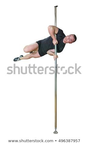 Fiatal erős rúdtánc férfi izolált fehér Stock fotó © julenochek