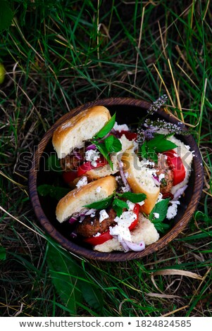 tomato basil turkey burgersstyle rustic stock photo © zoryanchik