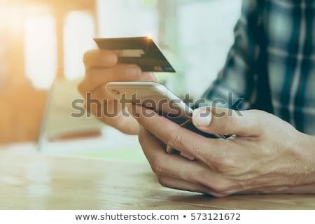 cartão · de · crédito · móvel · pagamento · homem · aplicativo - foto stock © stevanovicigor