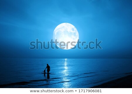 Syn ojca światło księżyca ilustracja księżyc gwiazdki chłopca Zdjęcia stock © adrenalina
