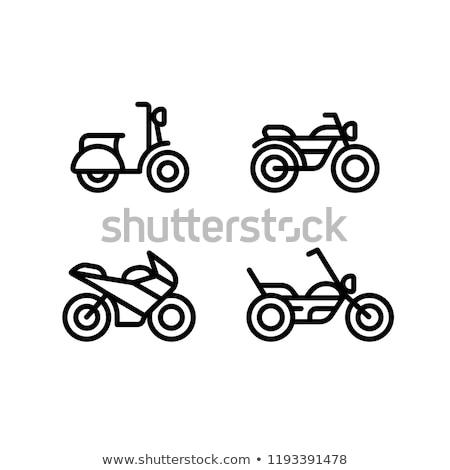 Symbol Motorrad linear Stil Motorrad Straße Stock foto © Olena