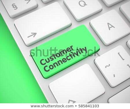 Vásárló konnektivitás közelkép billentyűzet 3D fehér Stock fotó © tashatuvango