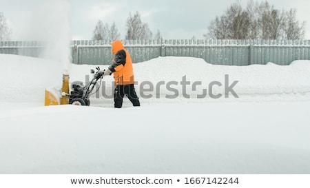 Sneeuw jonge vrouw huis werk straat Stockfoto © saje