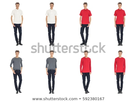 Young man in a red shirt and jeans. Studio shot over white. stock ...