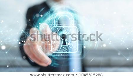 Stock fotó: Kéz · megérint · internet · biztonság · kulcs · ujj
