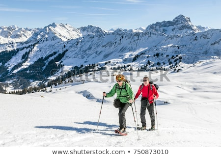 senior couple snowshoeing in mountains Stock photo © IS2
