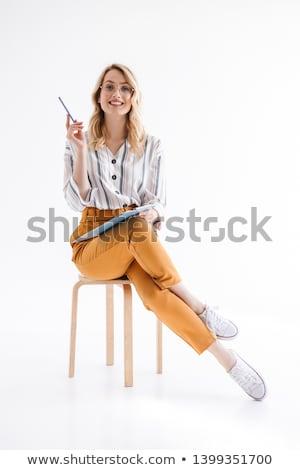 Mosolyog szőke nő ül zsámoly portré szexi Stock fotó © filipw