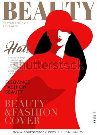 csinos · nő · visel · vörös · ruha · fehér · szépség · fekete - stock fotó © denismart