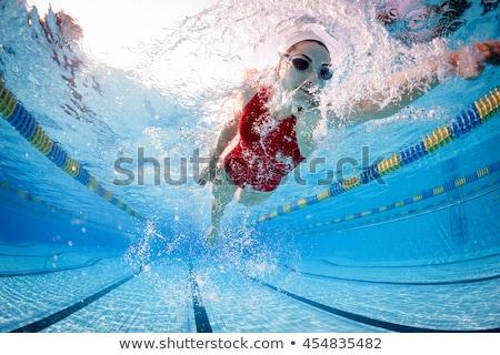 underwater portrait of female swimmer stock photo © is2