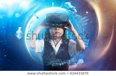 女の子 着用 バーチャル 現実 眼鏡 オレンジ ストックフォト © wavebreak_media