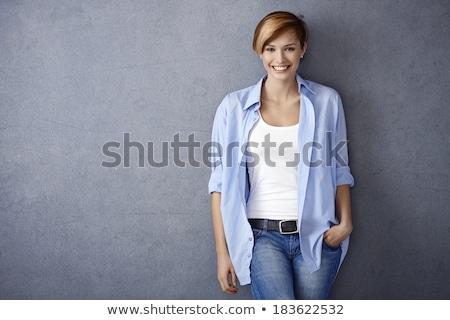 счастливым имбирь женщину рубашку джинсов Сток-фото © deandrobot