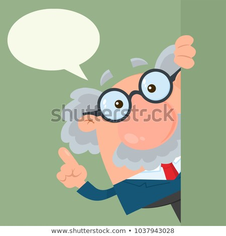 professor or scientist cartoon character looking around corner with speech bubble stock photo © hittoon