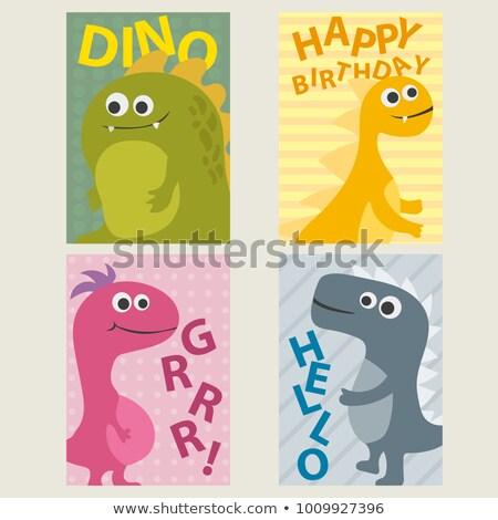 Сток-фото: набор · карт · Динозавры · рождения