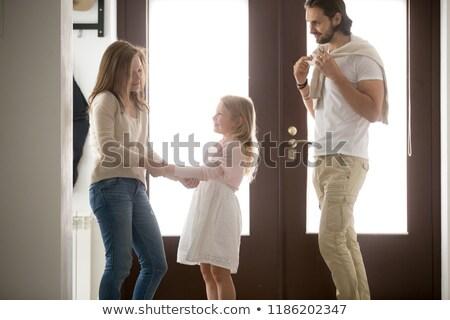 Três geração família em pé ouvir retrato Foto stock © IS2