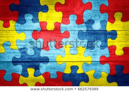 Autizmus gyermekkor zűrzavar puzzle absztrakt szimbólum Stock fotó © Lightsource