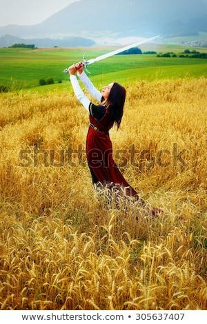Nő kard búzamező mosolyog boldogság áll Stock fotó © IS2