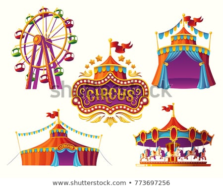 cirkusz · illusztráció · rajz · kék · ég · nyár · zászló - stock fotó © bluering