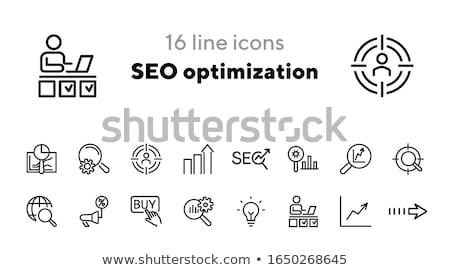 seo · ikona · line · zestaw · wyszukiwarka · rozwoju - zdjęcia stock © genestro