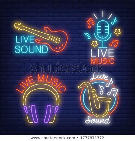 Viver música guitarra carta parede de tijolos Foto stock © articular