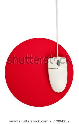 Stock photo: computer mouse and red mouse pad