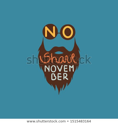 No Shave November lettering with funny hipster beard symbol Stock photo © SwillSkill