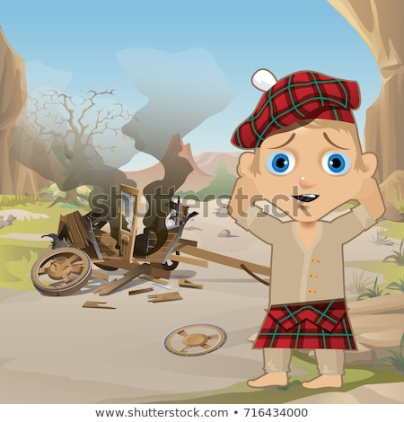 Cute Poster in Wild West Style. Young Man in Traditional Scottish Red Tartan Bonnet, Tam o' Shanter, Stock photo © Lady-Luck