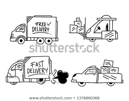 Livraison gratuite camion dessinés à la main doodle icône Photo stock © RAStudio