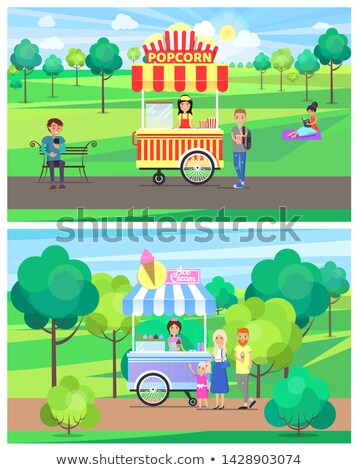 アイスクリーム · ヴァン · 幸せ · 子供 · 購入 · 甘い - ストックフォト © robuart