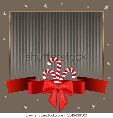 Noel şeker zarif gümüş altın çerçeve Stok fotoğraf © heliburcka