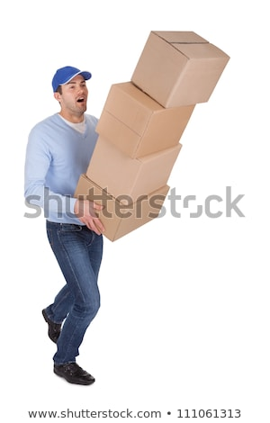 mature man with falling stack of cardboard boxes stock photo © andreypopov