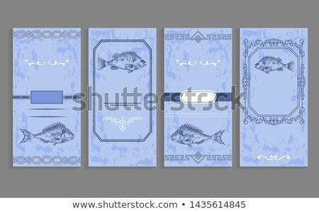 Samples of Fish menu Templates Decorative Frames Stock photo © robuart