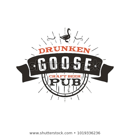 Vintage craft beer pub label. Drunken goose brewery retro design element. Hand drawn emblem for bar  Stock photo © JeksonGraphics