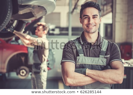 笑みを浮かべて ガレージ 青 作業 ワーカー ストックフォト © Minervastock