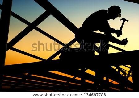 Werken bouwvakker illustratie man industrie baksteen Stockfoto © artisticco
