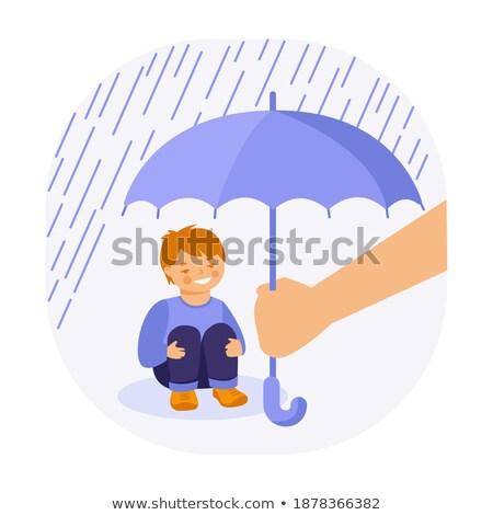 Ouders regen paraplu kind vector Stockfoto © pikepicture