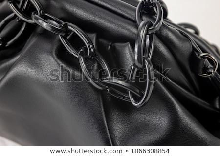 Elegancki czarny skóry damska torebka odizolowany Zdjęcia stock © Cipariss
