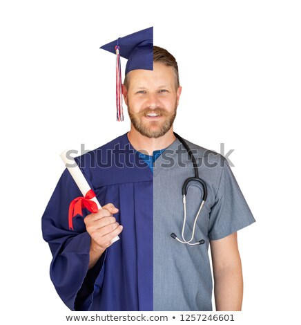 Split Screen of Caucasian Male As Graduate and Nurse Isolated On Stock photo © feverpitch