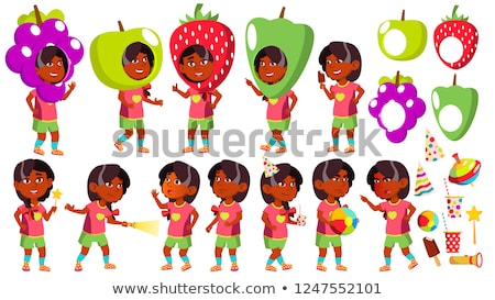 Girl Kindergarten Kid Poses Set Vector. Indian, Hindu. Asian. Party Costume Carnival. Baby Expressio Stock photo © pikepicture