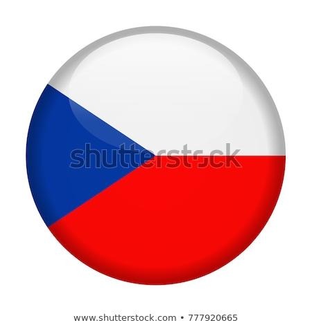Czechy banderą odznakę ilustracja tle biały Zdjęcia stock © colematt