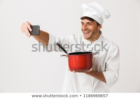 chef · homme · permanent · isolé · blanche · mur - photo stock © deandrobot