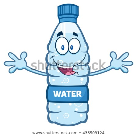 Cartoon Illustation Of A Water Plastic Bottle Mascot Character With Open Arms Wanting A Hug Stock photo © hittoon