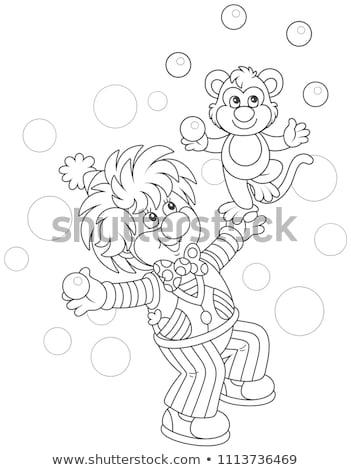 Karikatür gülen şempanze grafik Stok fotoğraf © cthoman