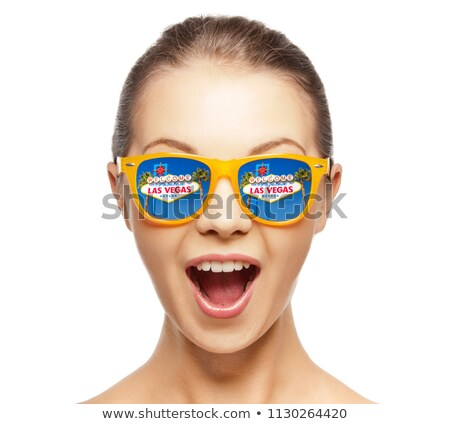 Femme lunettes de soleil Las Vegas signe réflexion Voyage Photo stock © dolgachov